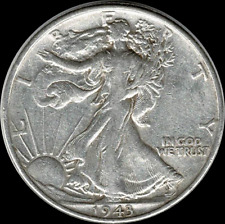 A 1943 P Walking Liberty Half Dollar 90% SILVER US Mint (Exact Coin Shown) W29