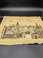 "Vintage Prague Praha City Cityscape Tapestry Wall Hanging 20"" x 16"" Unique Rare"