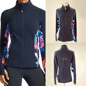 Athleta Super Impose Hope Jacket 2 Women's Sz M Navy Blue Floral Full Zip