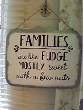 LARGE VINTAGE METAL -   Wall Art retro- Families are like Fudge
