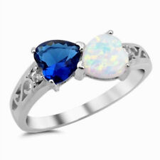 USA Seller Hearts Ring Sterling Silver 925 Lab Opal & Blue Sapphire CZ Size 6