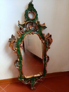 Elegant Mirror Golden Frame Carved Glass Mirror 34 5/16x16 1/8in