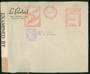 Argentina Buenos Aires Metered Creditos Censored 1942 Cover to New York