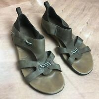 Merrell Flaxen Sandals Women's 8M Espresso Brown Leather Slip On Shoes