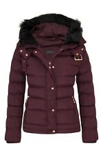 Womens Fur Hooded Jacket Quilted Winter Faux Warm Padded Shower Zip Outerwear Wine 8