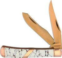 Rough Rider RR1527 Copperstone 2 Blade Trapper Rose Gold Folding Pocket Knife