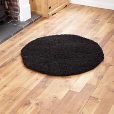 Large Modern Thick 5cm High Pile Plain Black Shaggy Circle Round Rug 133 X 133cm