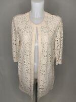 GERRY WEBER • Cream Beige Lace Longline Occasion Jacket • Size 14 • RRP £99