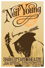 "VERY Large NEIL YOUNG - HARVEST 1971 Concert Poster  24"" x 16""  RARE & BEAUTIFUL"
