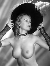 1940s Topless pinup in Ostrich feather hat lace gloves  8 x 10 Photograph