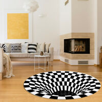 3D Bottomless Hole Area Rug Carpet Round Non-Slip Home Office Artiss Floor Mat