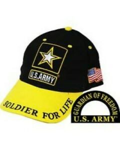 """Army Ballcap with a Bright Yellow Brim.  """"Soldier for Life"""""""