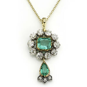 Antique Victorian Emerald & Diamond Cluster Drop Pendant Necklace10K Yellow Over