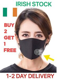 Face Mask With Air Valve Vent Respirator Washable & Reusable BUY 2 GET 1 FREE