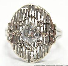 Antique 0.50ct Old Euro Diamond 14k Ring White Gold Filigree Art Deco Size 6.25