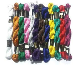 8 Embroidery Silk Threads assorted Skeins, 8 different Colours metallic floss