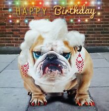 Bulldog Birthday Card Feeling Fabulous Funny Dog Lovers Greeting Card NEW