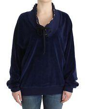 NWT $320 JUST CAVALLI Underwear Dark Blue Velvet Mock Cardigan Sweater IT48/US14