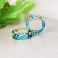 Handmade DIY Scenery Painting Real Dried Flower Resin Ring Women Fashion Jewelry