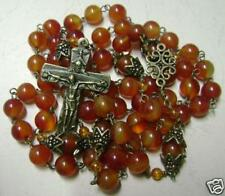 VINTAGE Natural Kaliningrad Amber beads Carnelian Rosary bronze Cross necklace