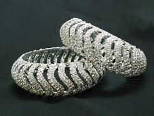 EXCLUSIVE THICK PAIR OF SILVER WITH DIAMOND WORKS BANGLE KADA SIZE 2.6