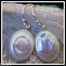 Silver CUTE AA Crude Luster WHITE Large Oval Pearl Earrings Australia Seller153