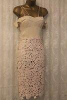 Karen Millen Heavy Floral Lace Drop Shoulder Pencil Fit Party Races Dress 10 38