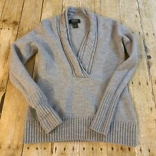 Eddie Bauer Womens Merino Wool V Neck Pullover Sweater Medium