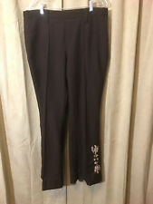Womens Vintage 1970s H Bar C Western Pants Size 38-30 Brown Floral Polyester