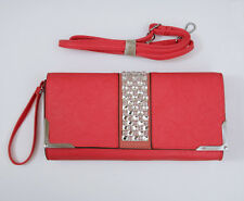 PINK LEATHER HANDBAG/ CLUTCH BAG WITH DIAMONTE BY NAVY INC
