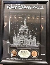 Walt Disney World Limited Edition Magic Kingdom Etched Glass Panel & Gold Coins