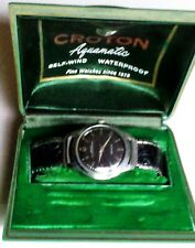 Vintage Croton Black Dial Windup Aquamatic Watch in Original Box