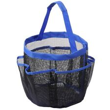 8 Pocket Mesh Shower Caddy Tote Portable Quick Dry Makeup Bag Blue Gym Pool