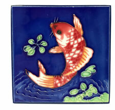 "Koi Fish Decorative Hand Painted Ceramic Tile 4""x 4"" Table or Wall Mount"