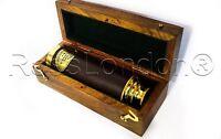 "Solid Brass Victorian Marine Telescope with Hardwood case-15"" Pirates Telescope"