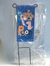 "Home Yard Decor- Mini Garden Dog Flag Stake ""Scoop The Poop"" 8"" X 4"" X 13"" New"