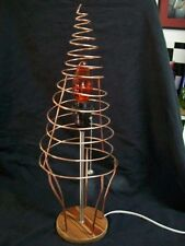 Metal Art Table Lamp Hand Made One of a Kind Solid Copper Wire w/ Wood Base