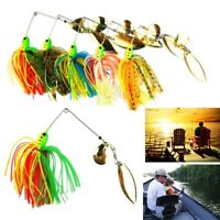5pcs Buzzbait Fishing Lure Spinner Bait Jigs Leadhead Sharp Crankbait Hooks Tool