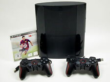 PS3 Sony Playstation 3 Super SLIM Konsole 500 GB + 2 Controller & FIFA 15 ~7412