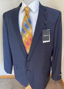 NEW Claiborne Sz 50R Stretch Blue Neat Micro Plaid Sport Coat Blazer Jacket $260