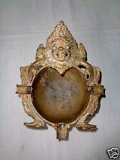 Antique Vintage Heavy Brass Tibet Tibetan Buddhist Temple Figure Ashtray