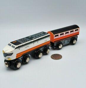 Wooden Railway Train Lot x2 Orange Engine + Coach works w Thomas & Friends BRIO