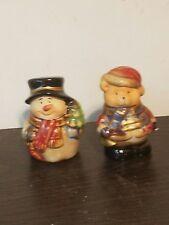 Christmas Holiday Snowman & Bear Salt & Pepper Shakers