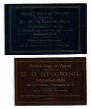 1890s PATENT attorney E B Stocking WASHINGTON DC lawyer ad invention tradecards