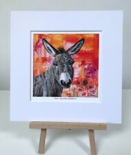 Donkey portrait 10x10in small print from painting