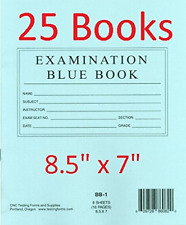 """TestingForms.com 8.5"""" x 7"""" Examination Blue Book 8 Sheets 16 Pages 25 Booklets"""