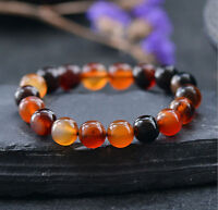"""12mm Natural Multicolor Agate Gemstone Round Beads Stretchy Bracelet 7.5"""""""