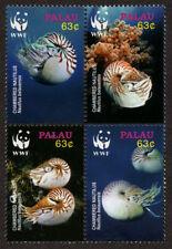 PALAU, Scott # 853, BLOCK OF 4 CHAMBERED NAUTILUS, DEEP SEA CREATURES, CORAL,MNH