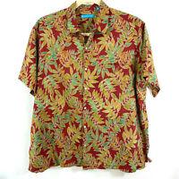 Tori Richard 2XB Shirt Red Green Tan Tropical Leaves Hawaiian Camp Aloha Lawn