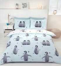 Starry Penguins Blue Quilt Cover Reversible Bedding Set FREE P&P